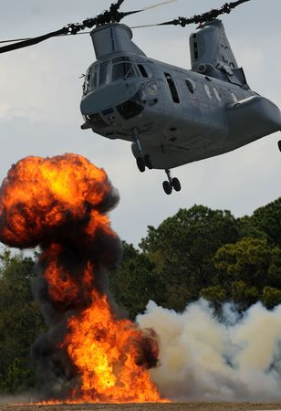 bombardment: Heavy helicopter delivering troops to battle