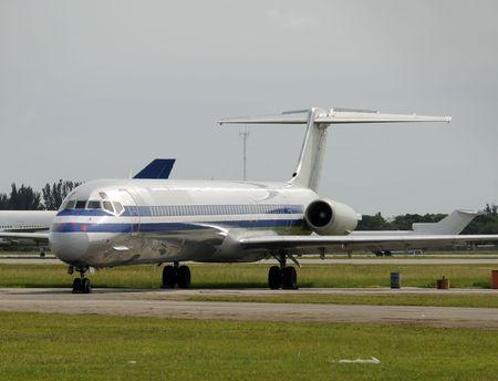overhaul: Old jet airplane undergoing overhaul and repair