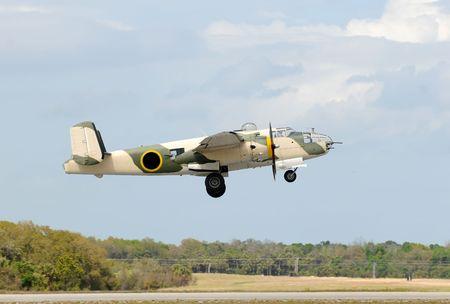 World War II era American bomber takeoff photo