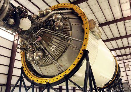 Rocket booster module stored in hangar