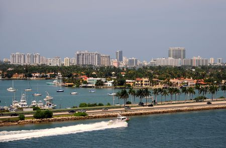 Panoramic scenery from Miami looking towards Miami Beach