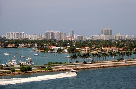 Panoramische landschappen van Miami, op zoek naar Miami Beach  Stockfoto