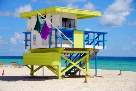 Colorful lifeguard station on Miami Beach, Florida Stok Fotoğraf