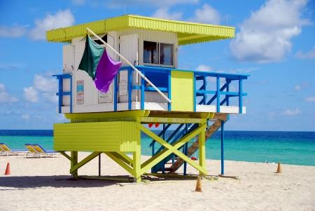 outpost: Colorful lifeguard station on Miami Beach, Florida Stock Photo