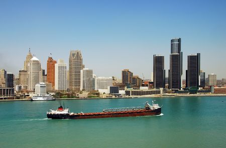 barge: Detroits downtown and waterfront panoramic view Stock Photo