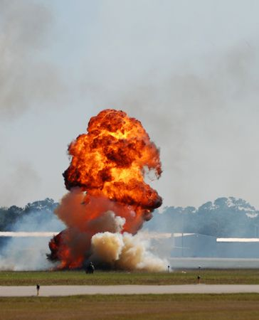 detonation: Outdoors explosion with flame and smoke