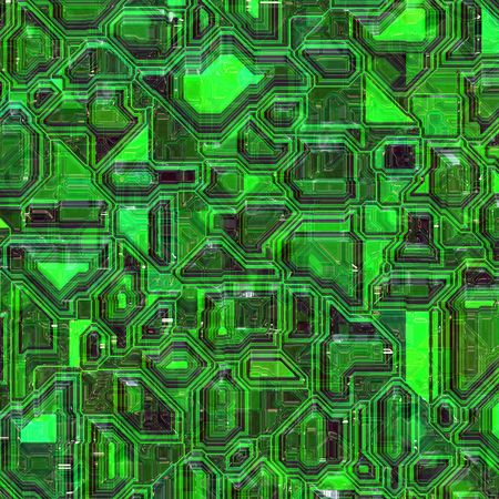 electronic circuit: Green colored integrated circuit board closeup view