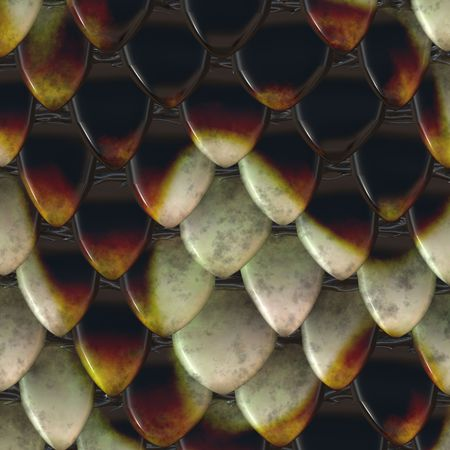 Closeup view of snake scales in brown color