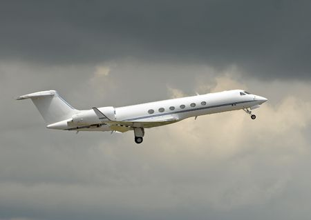departing: Luxury private jet for charter service Stock Photo