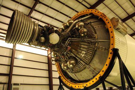 Big rocket engine stored in hangar Stock Photo