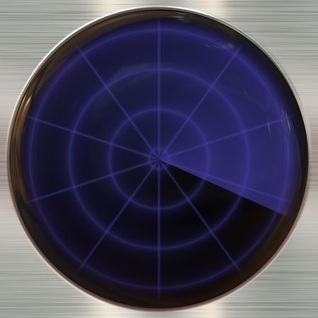 Round blue colored button on metallic background
