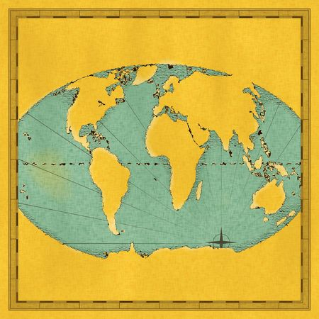 Antique approximate hand drawn map of the world Imagens