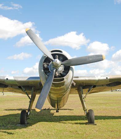 World War II era fighter airplane front view photo