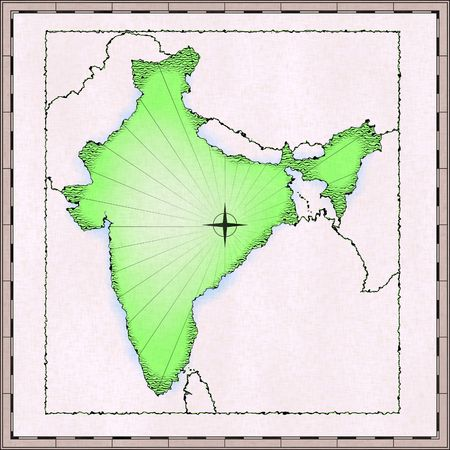 approximate: Old hand drawn map of India (approximate) Stock Photo