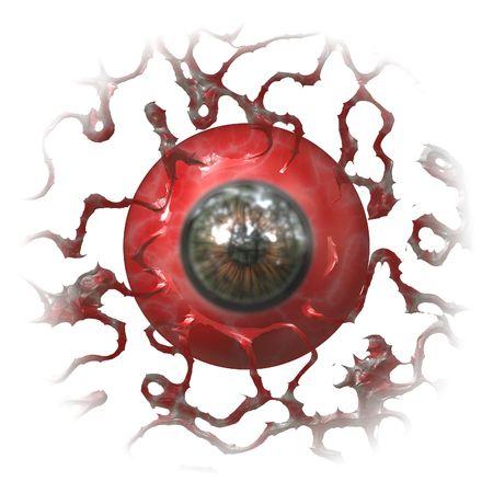 Creepy bloodshot eye isolated on white background photo