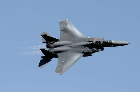 airforce: US Air Force jetfighter moving at high speed Stock Photo