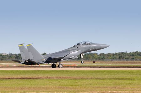 are thrust: US Air Force jetfighter taking off