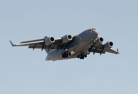 Modern US Air Force cargo transport airplane  스톡 콘텐츠