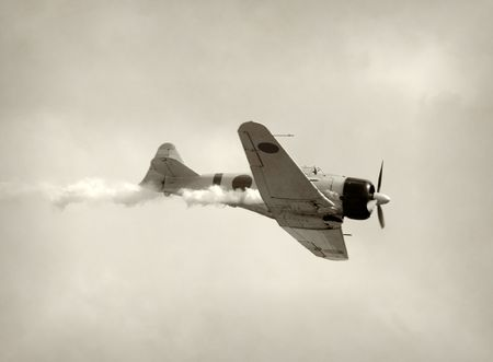 wartime: World War II era fighter airplane in a dive Stock Photo
