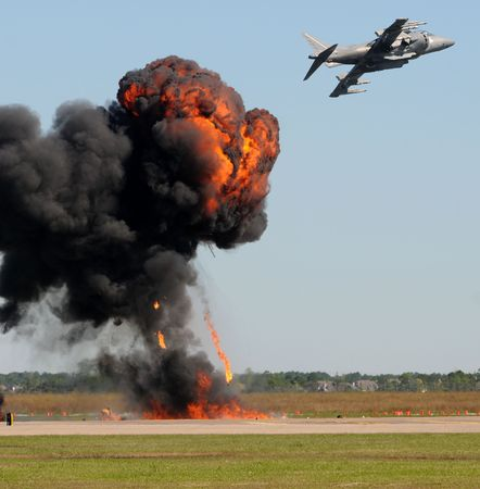 Air Force jetfighter in bomb drop photo