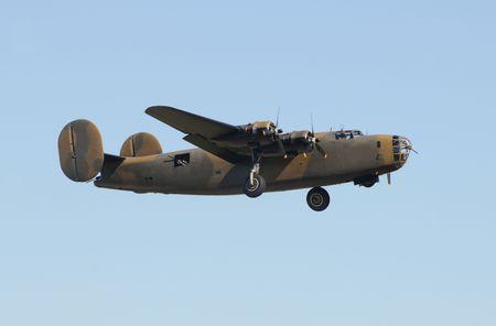 World War II era heavy American bomber in flight Imagens
