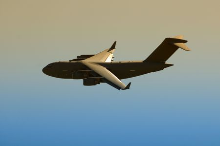 us air force: US Air Force cargo jet in twilight Stock Photo