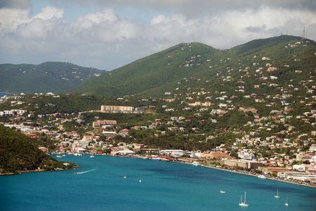 Vista aérea de las Islas Vírgenes de Santo Tomás, Estados Unidos  Foto de archivo - 6199029