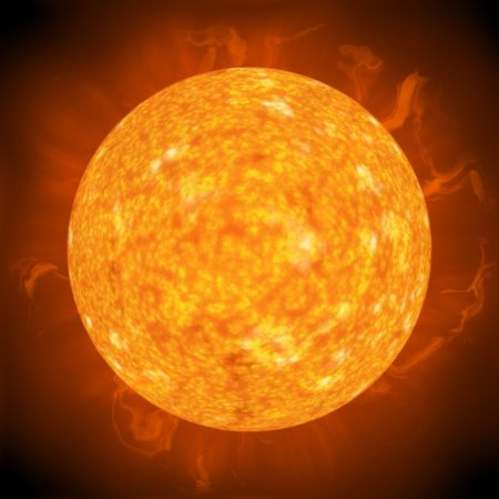 Solar flares and hot surface of the sun 스톡 콘텐츠