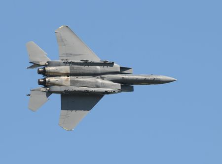 Modern US Air Force jet at high speed