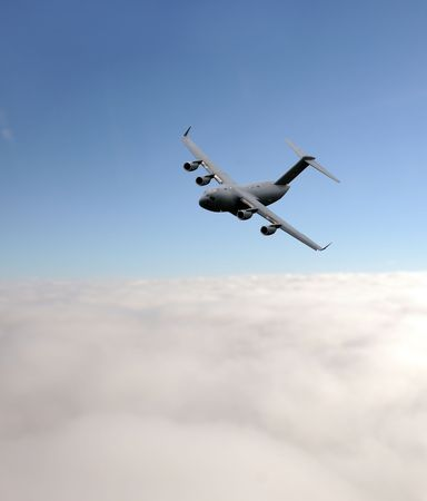 airborne vehicle: Modern air force cargo jet at high altitude