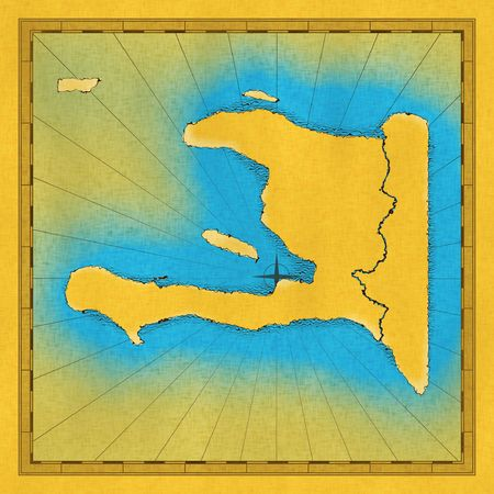 approximate: Old hand drawn map of Haiti (approximate)