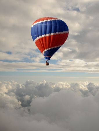How air balloon flying at high altitude photo
