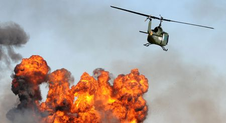 rescue helicopter: Aerial suraillance of industrial fire and explosion