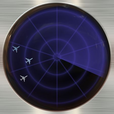 atc: Round blue colored button on metallic background