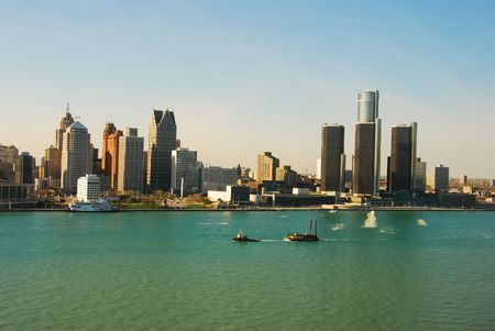 michigan: Detroit skyline as seen from Windsor, Ontario