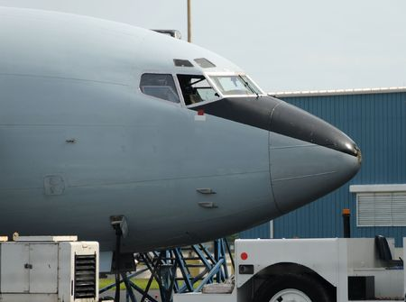 industrial park: Jet airplane nose ready for towing