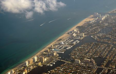 Aerial view of Fort Lauderdale Beach and waterways photo