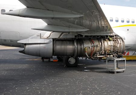 Jet airplane engine under repair and maintenance Archivio Fotografico