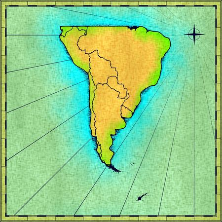 approximate: Antique map of South America (approximate hand drawn) Stock Photo
