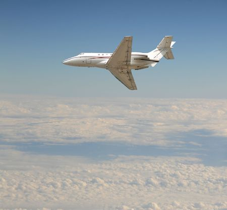 luxuries: Luxury private jet flying at high altitude