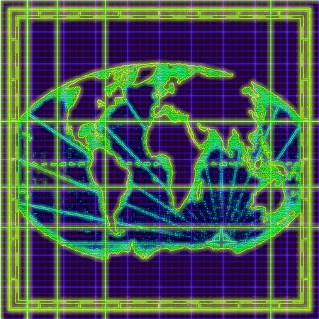 Outline map of the world in green and blue neon Imagens