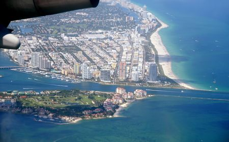Aerial view of Miami Beach, Florida from airplane Stock Photo - 6628726