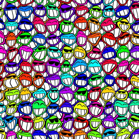 Multitude of smiling faces in various colors
