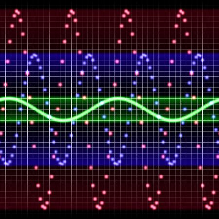 Electronic display tracking sound waves in different colors photo