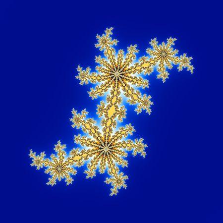 青色の背景に分離された花の形の巻 写真素材