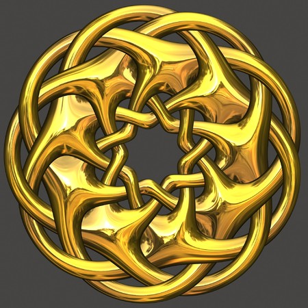 Ancient gold ornament isolated on gray background