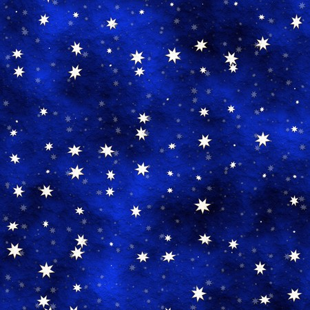 Many stars scattered in a blue painted ceiling