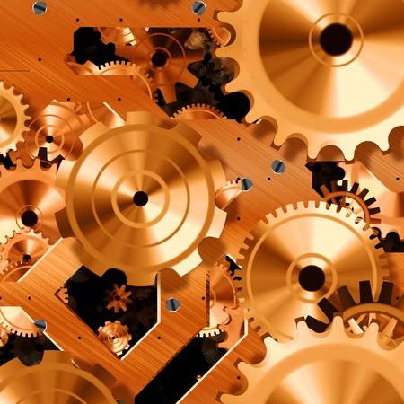 polished: Shiny polished gold wheels inside a clock