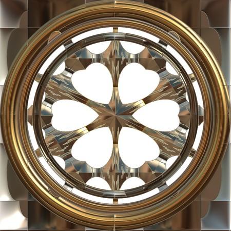 Round brass porthole isolated on white background