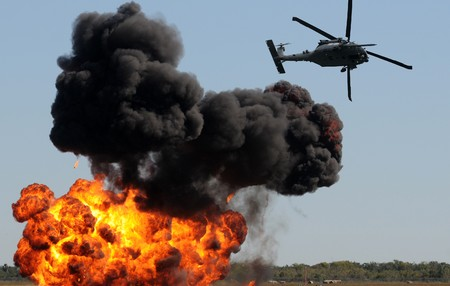 Modern military helicopter shooting ground targets